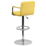 Contemporary Yellow Quilted Vinyl Adjustable Height Barstool with Arms and Chrome Base - OfficeChairCity.com