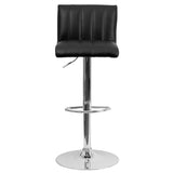 Contemporary Black Vinyl Adjustable Height Barstool with Chrome Base - OfficeChairCity.com