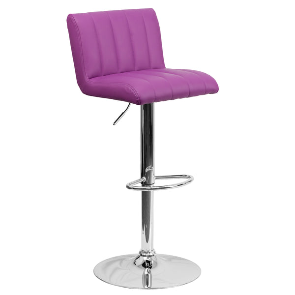 This designer chair will make an attractive statement in the home. The height adjustable swivel seat adjusts from counter to bar height with the handle located below the seat. The chrome footrest supports your feet while also providing a contemporary chic design. To help protect your floors, the base features an embedded plastic ring.