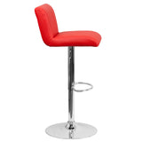 Contemporary Red Vinyl Adjustable Height Barstool with Chrome Base - OfficeChairCity.com