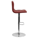 Contemporary Tufted Burgundy Vinyl Adjustable Height Barstool with Chrome Base - OfficeChairCity.com