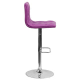 Contemporary Tufted Purple Vinyl Adjustable Height Barstool with Chrome Base - OfficeChairCity.com