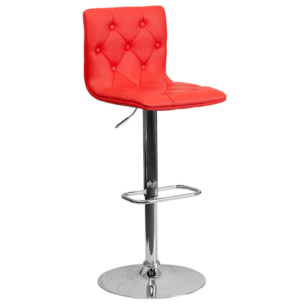 With its button tufted detailing, this adjustable height barstool will make a lovely accent stool in your kitchen, dining, or bar area. The height adjustable swivel seat adjusts from counter to bar height with the handle located below the seat. The base and footrest have a chrome finish to complement the chair's modern design. To help protect your floors, the base features an embedded plastic ring.
