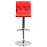 Contemporary Tufted Red Vinyl Adjustable Height Barstool with Chrome Base - OfficeChairCity.com