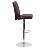 Contemporary Brown Vinyl Adjustable Height Barstool with Chrome Base - OfficeChairCity.com