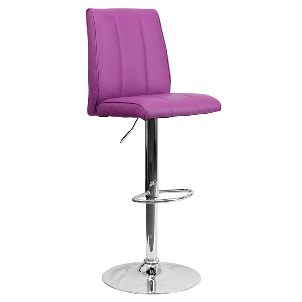 The purple vinyl, adjustable height barstool is a great fit for your breakfast bar or kitchen counter.The seat and back are padded with 2'' of CA117 fire retardant foam and upholstered in bright purple vinyl with a vertical line design. The swivel seat easily adjusts from counter to bar height using the convenient gas lift-handle, located just below the seat. The chrome base and footrest complement the stool's modern design and this stool will hold up to 330 pounds.Designed for residential use, this purple