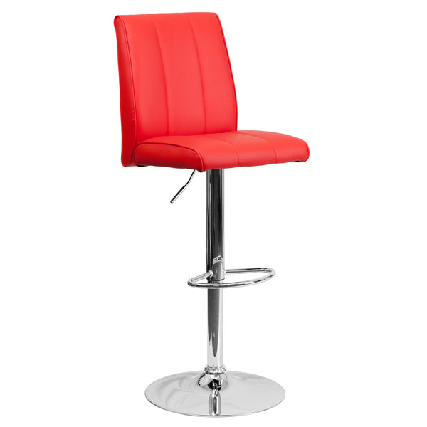 The red vinyl, adjustable height barstool is a great fit for your breakfast bar or kitchen counter.The seat and back are padded with 2'' of CA117 fire retardant foam and upholstered in bright red vinyl with a vertical line design. The swivel seat easily adjusts from counter to bar height using the convenient gas lift-handle, located just below the seat. The chrome base and footrest complement the stool's modern design and this stool will hold up to 330 pounds.Designed for residential use, this red vinyl bar