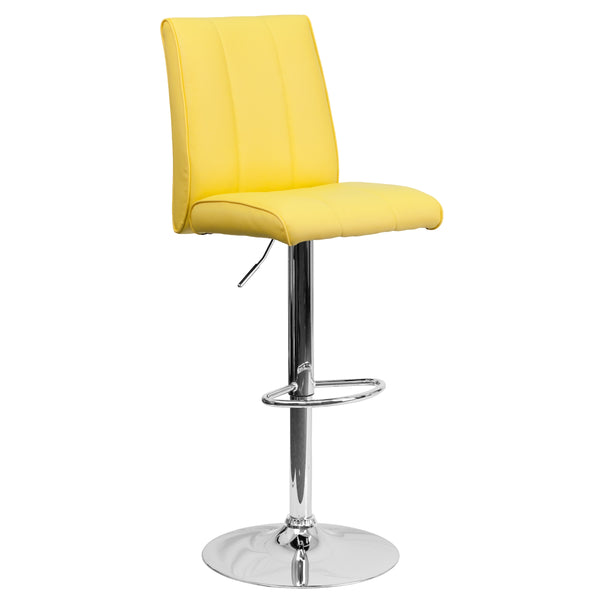 The yellow vinyl, adjustable height barstool is a great fit for your breakfast bar or kitchen counter.The seat and back are padded with 2'' of CA117 fire retardant foam and upholstered in bright yellow vinyl with a vertical line design. The swivel seat easily adjusts from counter to bar height using the convenient gas lift-handle, located just below the seat. The chrome base and footrest complement the stool's modern design and this stool will hold up to 330 pounds.Designed for residential use, this yellow