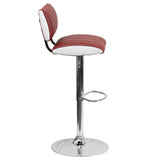 Contemporary Two Tone Burgundy & White Vinyl Adjustable Height Barstool with Chrome Base - OfficeChairCity.com