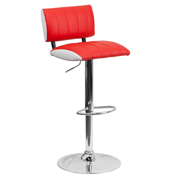 This designer chair will make an attractive statement in the home. The white contrast side upholstery provides a very appealing look. The height adjustable swivel seat adjusts from counter to bar height with the handle located below the seat. The base and footrest have a chrome finish to complement the chair's modern design. To help protect your floors, the base features an embedded plastic ring.