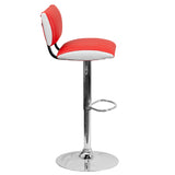 Contemporary Two Tone Red & White Vinyl Adjustable Height Barstool with Chrome Base - OfficeChairCity.com