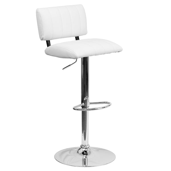 This designer chair will make an attractive statement in the home. The height adjustable swivel seat adjusts from counter to bar height with the handle located below the seat. The base and footrest have a chrome finish to complement the chair's modern design. To help protect your floors, the base features an embedded plastic ring.