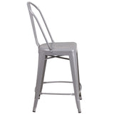 24'' High Silver Metal Indoor-Outdoor Counter Height Stool with Back - OfficeChairCity.com