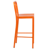 30'' High Orange Metal Indoor-Outdoor Barstool - OfficeChairCity.com
