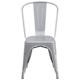 Silver Metal Indoor-Outdoor Stackable Chair - OfficeChairCity.com