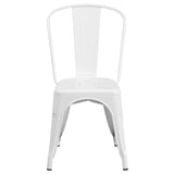 White Metal Indoor-Outdoor Stackable Chair - OfficeChairCity.com