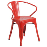 Completely transform your living or restaurant space with this vintage style chair. Adding colorful chairs can rev up any setting. The versatility of this chair easily conforms in different environments. Chairs are lightweight and easily stack for storing. A cross brace underneath the seat adds extra stability and features plastic caps that prevent the finish from scratching when stacked. The frame is designed for all-weather use making it a great option for indoor and outdoor settings. For longevity, care