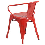 Red Metal Indoor-Outdoor Chair with Arms - OfficeChairCity.com