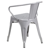 Silver Metal Indoor-Outdoor Chair with Arms - OfficeChairCity.com