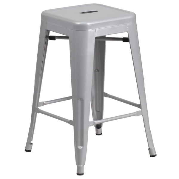 This stool will add a modern industrial appearance to your home or work space. This space-saving stool is stackable making it great for storing. A cross brace underneath the seat adds extra stability and features plastic caps that prevent the finish from scratching when stacked. The legs have protective floor glides that prevent damage to flooring. This all-weather use stool is great for indoor and outdoor settings. For longevity, care should be taken to protect from long periods of wet weather. The unique