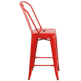 24'' High Red Metal Indoor-Outdoor Counter Height Stool with Back - OfficeChairCity.com