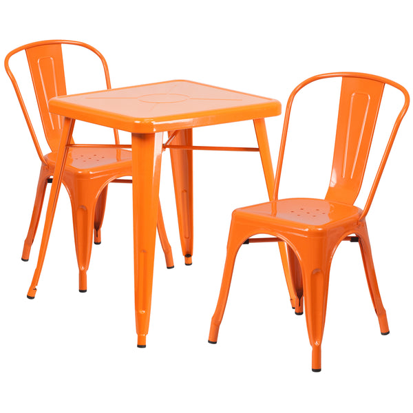 Complete your dining room, restaurant or patio with this chic table and chair set. This colorful set will add a retro-modern look to your home or eatery. Table features a designer top, stabilizing cross brace and protective rubber floor glides. The lightweight stack chair features plastic caps that prevent the finish from scratching while being stacked. This 3 piece table set is designed for indoor and outdoor settings. For longevity, care should be taken to protect from long periods of wet weather. The pos