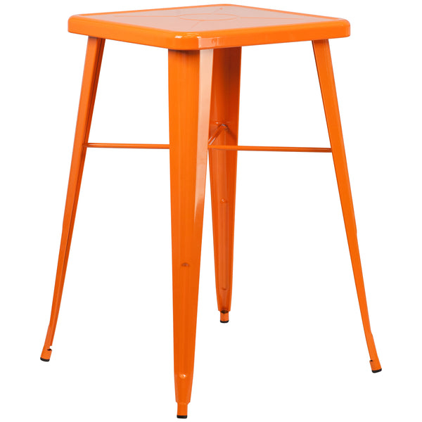 Create a chic dining space with this industrial style table. The colorful table will add a retro-modern look to your home or eatery. This highly versatile Cafe Table is ideal for use in bistros, taverns, bars and restaurants. You can mix and match this style table with any metal chair, even using different colors. A cross brace underneath the top adds extra stability. The legs have protective rubber feet that prevent damage to flooring. This all-weather use table is great for indoor and outdoor settings. Fo