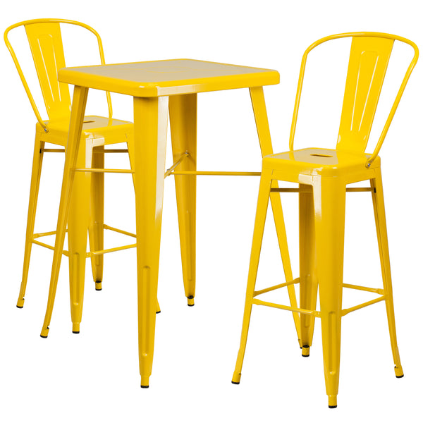 Complete your dining room, restaurant or patio with this chic bar table and chair set. This colorful set will add a retro-modern look to your home or eatery. Table features a designer top, stabilizing cross brace and protective rubber floor glides. The stylish bistro style barstools features a curved, vertical slat back. This 3 piece table set is designed for indoor and outdoor settings. For longevity, care should be taken to protect from long periods of wet weather. The possibilities are endless with the m