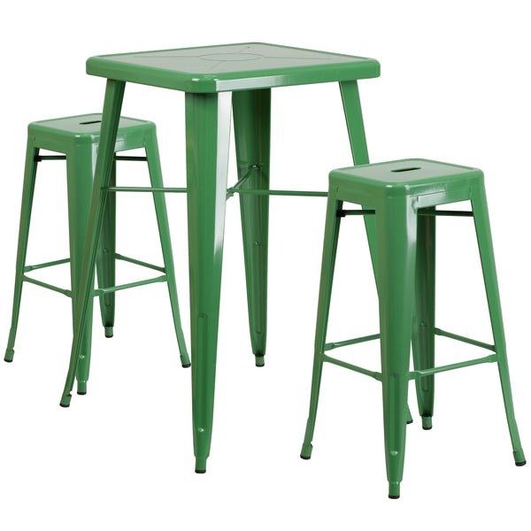 The trendy square indoor-outdoor metal dining table with two square backless barstools will give your dining room or bar decor a cool retro-vintage feel. The table top measures 23.75 inches square and has a 2-inch lip with rounded corners. Cross braces add increased stability while still allowing ample leg room. Galvanized steel construction and a smooth, powder-coat finish ensure durability and easy maintenance. The backless barstools have square seats with a cross brace under the seat for added support an