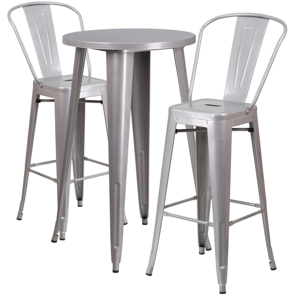 Complete your dining room, restaurant or patio with this chic bar table and chair set. This colorful set will add a retro-modern look to your home or eatery. Table features a smooth top and protective rubber floor glides. The stylish bistro style barstools features a curved, vertical slat back. This 3 piece table set is designed for indoor and outdoor settings. For longevity, care should be taken to protect from long periods of wet weather. The possibilities are endless with the multitude of environments in