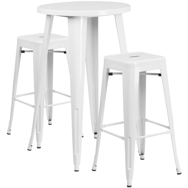 Complete your dining room, restaurant or patio with this chic bar table and chair set. This colorful set will add a retro-modern look to your home or eatery. Table features a smooth top and protective rubber floor glides. The stackable barstools feature plastic caps that prevent the finish from scratching while being stacked. This 3 piece table set is designed for indoor and outdoor settings. For longevity, care should be taken to protect from long periods of wet weather. The possibilities are endless with