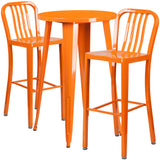 Complete your dining room, restaurant or patio with this chic bar table and chair set. This colorful set will add a retro-modern look to your home or eatery. Table features a smooth top and protective rubber floor glides. The industrial style barstool features an attractive vertical slat back. This 3 piece table set is designed for indoor and outdoor settings. For longevity, care should be taken to protect from long periods of wet weather. The possibilities are endless with the multitude of environments in