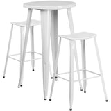 Complete your dining room, restaurant or patio with this chic bar table and chair set. This colorful set will add a retro-modern look to your home or eatery. Table features a smooth top and protective rubber floor glides. The backless, industrial style barstools have drain holes in the seat and protective floor glides. This 3 piece table set is designed for indoor and outdoor settings. For longevity, care should be taken to protect from long periods of wet weather. The possibilities are endless with the mul
