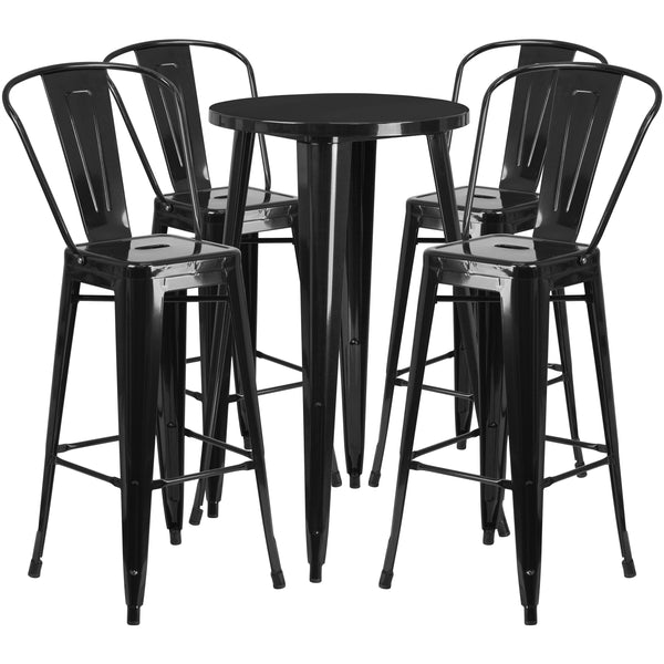 Complete your dining room, restaurant or patio with this chic bar table and chair set. This colorful set will add a retro-modern look to your home or eatery. Table features a smooth top and protective rubber floor glides. The stylish bistro style barstools features a curved, vertical slat back. This 5 piece table set is designed for indoor and outdoor settings. For longevity, care should be taken to protect from long periods of wet weather. The possibilities are endless with the multitude of environments in