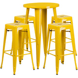 Complete your dining room, restaurant or patio with this chic bar table and chair set. This colorful set will add a retro-modern look to your home or eatery. Table features a smooth top and protective rubber floor glides. The stackable barstools feature plastic caps that prevent the finish from scratching while being stacked. This 5 piece table set is designed for indoor and outdoor settings. For longevity, care should be taken to protect from long periods of wet weather. The possibilities are endless with