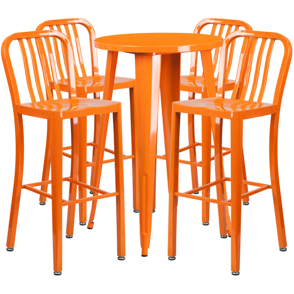 Complete your dining room, restaurant or patio with this chic bar table and chair set. This colorful set will add a retro-modern look to your home or eatery. Table features a smooth top and protective rubber floor glides. The industrial style barstool features an attractive vertical slat back. This 5 piece table set is designed for indoor and outdoor settings. For longevity, care should be taken to protect from long periods of wet weather. The possibilities are endless with the multitude of environments in