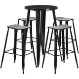 Complete your dining room, restaurant or patio with this chic bar table and chair set. This colorful set will add a retro-modern look to your home or eatery. Table features a smooth top and protective rubber floor glides. The backless, industrial style barstools have drain holes in the seat and protective floor glides. This 5 piece table set is designed for indoor and outdoor settings. For longevity, care should be taken to protect from long periods of wet weather. The possibilities are endless with the mul