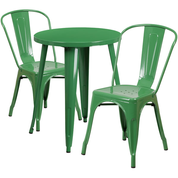 Complete your dining room, restaurant or patio with this chic table and chair set. This colorful set will add a retro-modern look to your home or eatery. Table features a smooth top and protective rubber floor glides. The stackable bistro chair features plastic caps that prevent the finish from scratching while being stacked. This 3 piece table set is designed for indoor and outdoor settings. For longevity, care should be taken to protect from long periods of wet weather. The possibilities are endless with