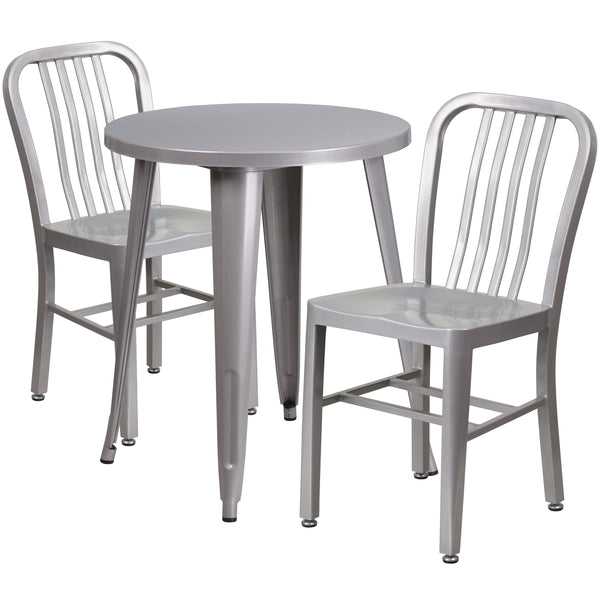 Complete your dining room, restaurant or patio with this chic table and chair set. This colorful set will add a retro-modern look to your home or eatery. Table features a smooth top and protective rubber floor glides. The industrial style chair features an attractive vertical slat back. This 3 piece table set is designed for indoor and outdoor settings. For longevity, care should be taken to protect from long periods of wet weather. The possibilities are endless with the multitude of environments in which y