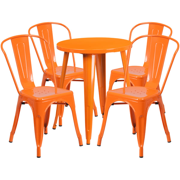 Complete your dining room, restaurant or patio with this chic table and chair set. This colorful set will add a retro-modern look to your home or eatery. Table features a smooth top and protective rubber floor glides. The stackable bistro chair features plastic caps that prevent the finish from scratching while being stacked. This 5 piece table set is designed for indoor and outdoor settings. For longevity, care should be taken to protect from long periods of wet weather. The possibilities are endless with