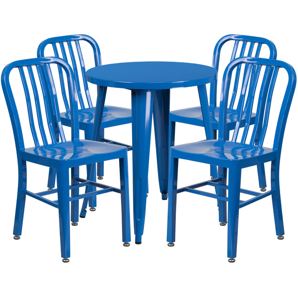Complete your dining room, restaurant or patio with this chic table and chair set. This colorful set will add a retro-modern look to your home or eatery. Table features a smooth top and protective rubber floor glides. The industrial style chair features an attractive vertical slat back. This 5 piece table set is designed for indoor and outdoor settings. For longevity, care should be taken to protect from long periods of wet weather. The possibilities are endless with the multitude of environments in which y