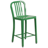 Update the look in your home or restaurant using this modern industrial style stool. Don't be afraid to add some color to brighten up your kitchen, bar or man cave. This all-weather use stool is great for indoor and outdoor settings. For longevity, care should be taken to protect from long periods of wet weather. This easy to clean stool makes it the perfect option for any eatery while adding a burst of color.