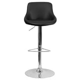 Contemporary Black Vinyl Bucket Seat Adjustable Height Barstool with Chrome Base - OfficeChairCity.com