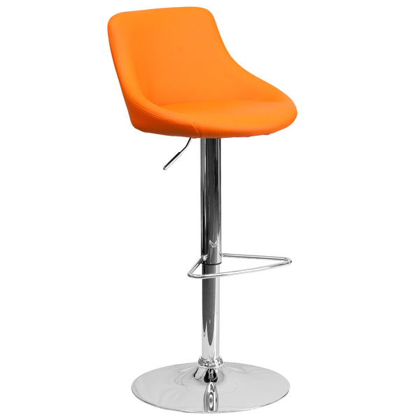 This dual purpose stool easily adjusts from counter to bar height. The bucket seat design will make this a great accent chair around the bar area or kitchen. The easy to clean vinyl upholstery is an added bonus when stool is used regularly. The height adjustable swivel seat adjusts from counter to bar height with the handle located below the seat. The chrome footrest supports your feet while also providing a contemporary chic design. To help protect your floors, the base features an embedded plastic ring.