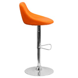 Contemporary Orange Vinyl Bucket Seat Adjustable Height Barstool with Chrome Base - OfficeChairCity.com