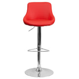 Contemporary Red Vinyl Bucket Seat Adjustable Height Barstool with Chrome Base - OfficeChairCity.com