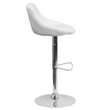 Contemporary White Vinyl Bucket Seat Adjustable Height Barstool with Chrome Base - OfficeChairCity.com