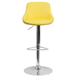 Contemporary Yellow Vinyl Bucket Seat Adjustable Height Barstool with Chrome Base - OfficeChairCity.com