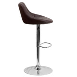 Contemporary Brown Vinyl Bucket Seat Adjustable Height Barstool with Chrome Base - OfficeChairCity.com