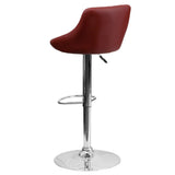 Contemporary Burgundy Vinyl Bucket Seat Adjustable Height Barstool with Chrome Base - OfficeChairCity.com